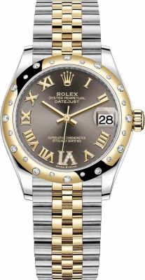Rolex Datejust 31mm Stainless Steel and Yellow Gold 278343rbr Grey VI Roman Jubilee