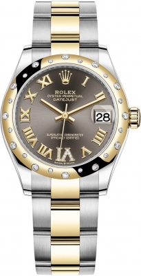 Rolex Datejust 31mm Stainless Steel and Yellow Gold 278343rbr Grey VI Roman Oyster