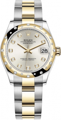 Rolex Datejust 31mm Stainless Steel and Yellow Gold 278343rbr Silver Diamond Oyster