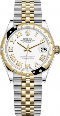 Rolex Datejust 31mm Stainless Steel and Yellow Gold 278343rbr White Roman Jubilee