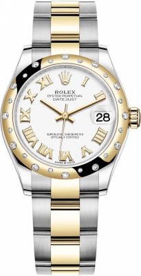 Rolex Datejust 31mm Stainless Steel and Yellow Gold 278343rbr White Roman Oyster