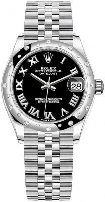 Rolex Datejust 31mm Stainless Steel 278344rbr Black Roman Jubilee