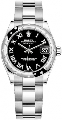 Rolex Datejust 31mm Stainless Steel 278344rbr Black Roman Oyster