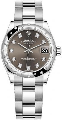 Rolex Datejust 31mm Stainless Steel 278344rbr Dark Grey Diamond Oyster