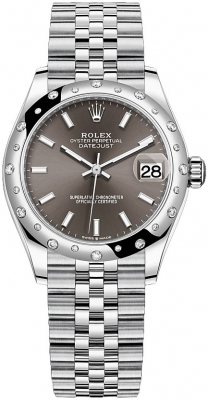 Rolex Datejust 31mm Stainless Steel 278344rbr Dark Grey Index Jubilee