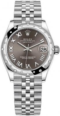 Rolex Datejust 31mm Stainless Steel 278344rbr Dark Grey Roman Jubilee