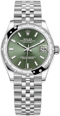 Rolex Datejust 31mm Stainless Steel 278344rbr Mint Green Index Jubilee