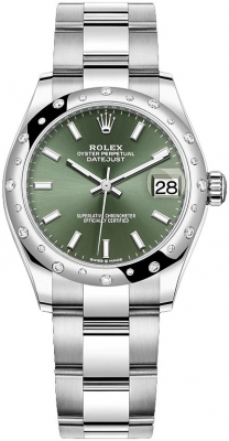 Rolex Datejust 31mm Stainless Steel 278344rbr Mint Green Index Oyster