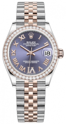 Rolex Datejust 31mm Stainless Steel and Rose Gold 278381rbr Aubergine VI Roman Jubilee