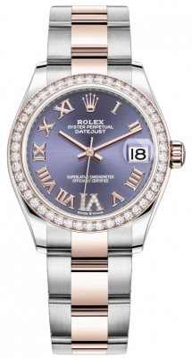 Rolex Datejust 31mm Stainless Steel and Rose Gold 278381rbr Aubergine VI Roman Oyster