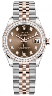 Rolex Datejust 31mm Stainless Steel and Rose Gold 278381rbr Chocolate Diamond Jubilee
