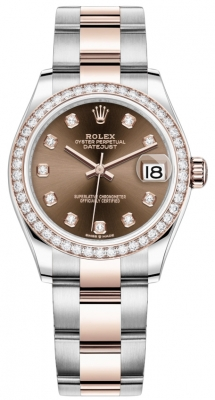 Rolex Datejust 31mm Stainless Steel and Rose Gold 278381rbr Chocolate Diamond Oyster