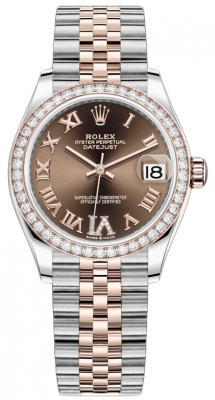 Rolex Datejust 31mm Stainless Steel and Rose Gold 278381rbr Chocolate VI Roman Jubilee