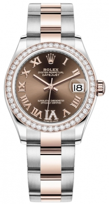 Rolex Datejust 31mm Stainless Steel and Rose Gold 278381rbr Chocolate VI Roman Oyster