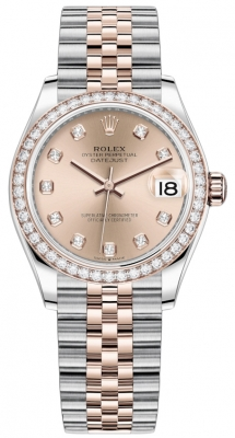 Rolex Datejust 31mm Stainless Steel and Rose Gold 278381rbr Gold Diamond Jubilee