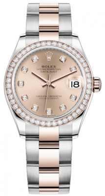 Rolex Datejust 31mm Stainless Steel and Rose Gold 278381rbr Gold Diamond Oyster