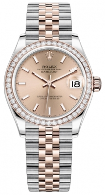 Rolex Datejust 31mm Stainless Steel and Rose Gold 278381rbr Gold Index Jubilee