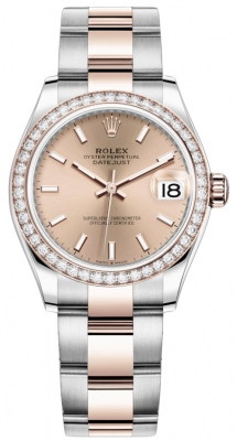 Rolex Datejust 31mm Stainless Steel and Rose Gold 278381rbr Gold Index Oyster