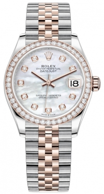 Rolex Datejust 31mm Stainless Steel and Rose Gold 278381rbr MOP Diamond Jubilee