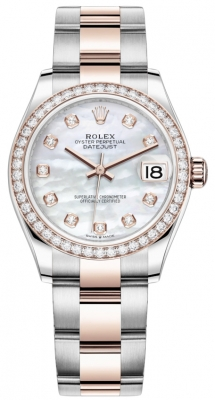 Rolex Datejust 31mm Stainless Steel and Rose Gold 278381rbr MOP Diamond Oyster