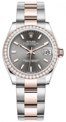 Rolex Datejust 31mm Stainless Steel and Rose Gold 278381rbr Rhodium Index Oyster