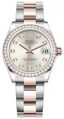 Rolex Datejust 31mm Stainless Steel and Rose Gold 278381rbr Silver Diamond Oyster