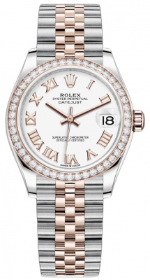 Rolex Datejust 31mm Stainless Steel and Rose Gold 278381rbr White Roman Jubilee