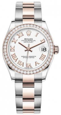 Rolex Datejust 31mm Stainless Steel and Rose Gold 278381rbr White Roman Oyster