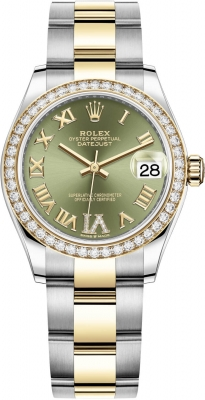 Rolex Datejust 31mm Stainless Steel and Yellow Gold 278383rbr Green VI Roman Oyster