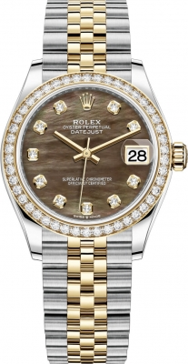 Rolex Datejust 31mm Stainless Steel and Yellow Gold 278383rbr Black MOP Diamond Jubilee