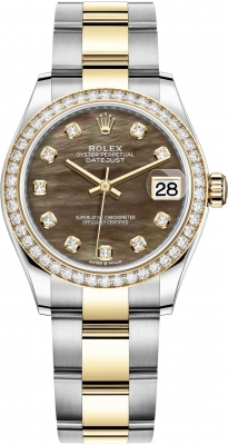 Rolex Datejust 31mm Stainless Steel and Yellow Gold 278383rbr Black MOP Diamond Oyster