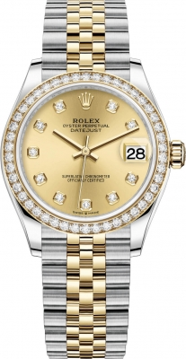 Rolex Datejust 31mm Stainless Steel and Yellow Gold 278383rbr Champagne Diamond Jubilee