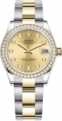Rolex Datejust 31mm Stainless Steel and Yellow Gold 278383rbr Champagne Diamond Oyster