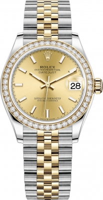 Rolex Datejust 31mm Stainless Steel and Yellow Gold 278383rbr Champagne Index Jubilee