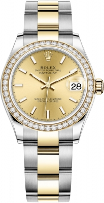 Rolex Datejust 31mm Stainless Steel and Yellow Gold 278383rbr Champagne Index Oyster