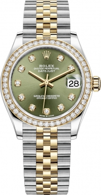 Rolex Datejust 31mm Stainless Steel and Yellow Gold 278383rbr Green Diamond Jubilee
