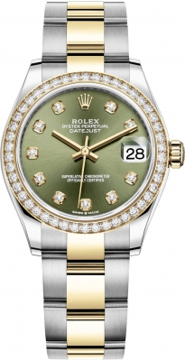 Rolex Datejust 31mm Stainless Steel and Yellow Gold 278383rbr Green Diamond Oyster