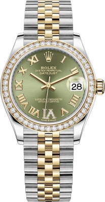 Rolex Datejust 31mm Stainless Steel and Yellow Gold 278383rbr Green VI Roman Jubilee