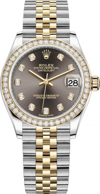 Rolex Datejust 31mm Stainless Steel and Yellow Gold 278383rbr Grey Diamond Jubilee