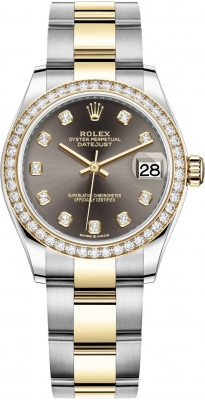 Rolex Datejust 31mm Stainless Steel and Yellow Gold 278383rbr Grey Diamond Oyster