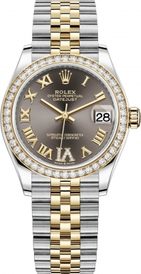 Rolex Datejust 31mm Stainless Steel and Yellow Gold 278383rbr Grey VI Roman Jubilee
