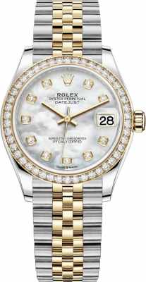 Rolex Datejust 31mm Stainless Steel and Yellow Gold 278383rbr MOP Diamond Jubilee