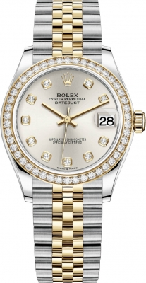 Rolex Datejust 31mm Stainless Steel and Yellow Gold 278383rbr Silver Diamond Jubilee