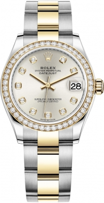 Rolex Datejust 31mm Stainless Steel and Yellow Gold 278383rbr Silver Diamond Oyster