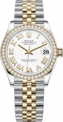 Rolex Datejust 31mm Stainless Steel and Yellow Gold 278383rbr White Roman Jubilee