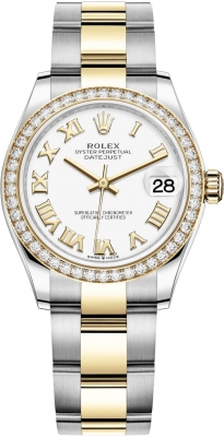 Rolex Datejust 31mm Stainless Steel and Yellow Gold 278383rbr White Roman Oyster