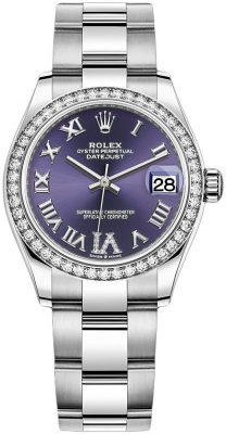 Rolex Datejust 31mm Stainless Steel 278384rbr Aubergine VI Oyster