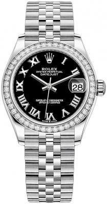 Rolex Datejust 31mm Stainless Steel 278384rbr Black Roman Jubilee