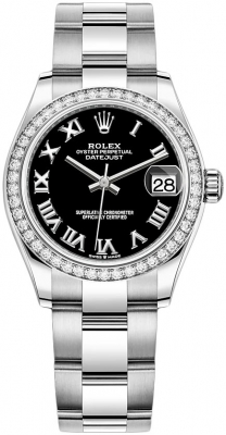 Rolex Datejust 31mm Stainless Steel 278384rbr Black Roman Oyster