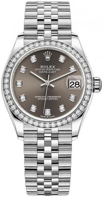 Rolex Datejust 31mm Stainless Steel 278384rbr Dark Grey Diamond Jubilee